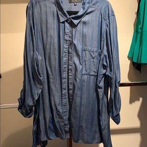Diane Gilman asymmetrical chambray blouse